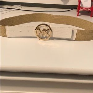 NWOT Michael Kors Gold & White Woven Belt